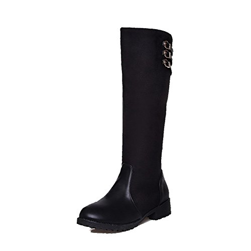 Material Black Women's AmoonyFashion Boots Solid Low Closed Round top High Toe Heels Soft 707FqSnfwa