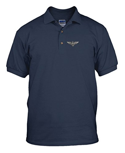 Naval Wings Military Embroidery Embroidered Unisex Adult Golf Polo Shirt Navy Large