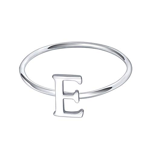 (AoedeJ 925 Sterling Silver Stackable Initial Letter Rings Capital Letter Ring Charm Initial Band for Women (E, 8))