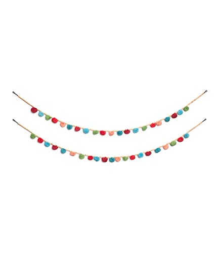 Matr Boomie Handmade Cotton Colorful Pom Pom Garland with Wooden Beads (Brown Beaded Garland)