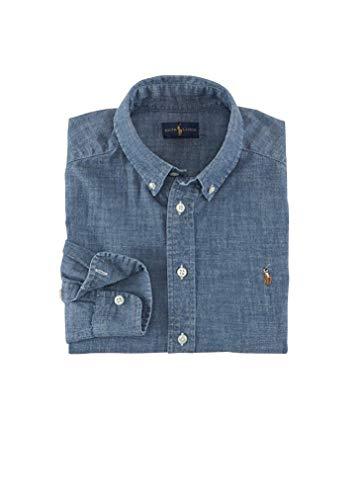 (RALPH LAUREN Men's Denim Chambray Casual Shirt (X-Large, Blue))