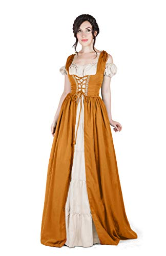 Boho Set Medieval Irish Costume Chemise and Over Dress (S/M, Burnt Orange) -