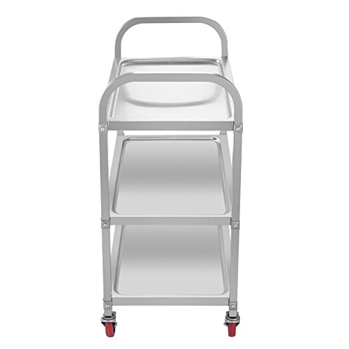 Superland 3 Shelf Utility Cart 264Lbs Stainless Steel Cart with Wheels Commercial Bus Cart for Kitchen Commercial Hotel Restaurant Dining Area Utility Serving (3 Shelf) by Superland OrangeA (Image #3)