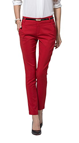 Yangmu Women's Skinny Pants  Red Medium (Ankle Length Pants compare prices)