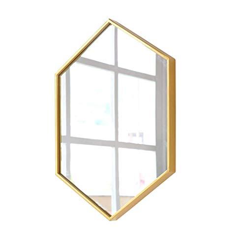 Kucheks Espejos de bano de Metal Espejos de tocador montados en la Pared Maquillaje de Hierro Hexagonal Espejo cosmetico para Colgar en la Pared de la Sala de Estar, Dormitorio