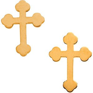 Girl's Cathedral Cross Stud Earrings, 14k Yellow Gold (11x8MM) by The Men's Jewelry Store (for KIDS) (Image #1)