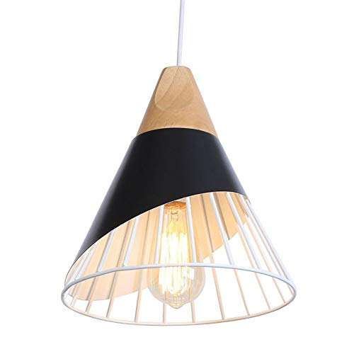Creative Chandelier Handmade Wrought Iron Color Ceiling Lamp European Multicolored Lantern Chandelier Hanging Wire Adjustable Home Decoration Lighting ( Color : Black , Size : 40W tungsten light ) ()