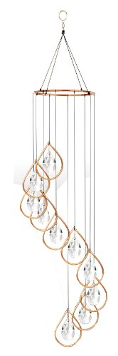 Red Carpet Studios Spiral Tunes Wind Chime, Copper Ring with Teardrop Crystals Drop Chimes