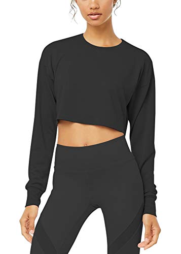 Bestisun Women's Crew Neck Long Sleeve Thumb Holes Unique Slim Fit Coss Wrap Crop Tops Casual Plain Shirts Flowy Fitness Black ()