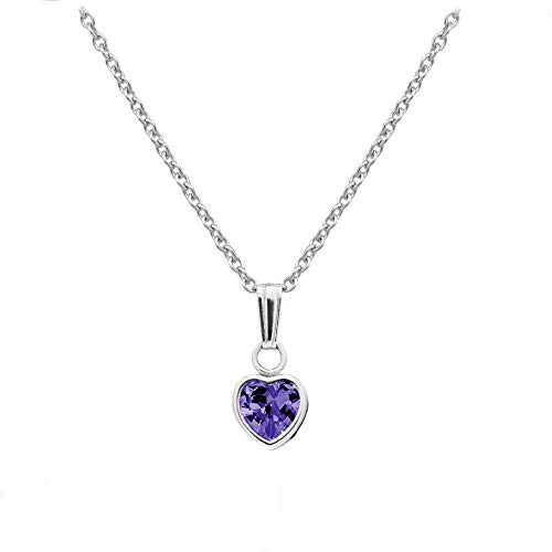 Little Girl's Sterling Silver Simulated February Birthstone Heart Pendant Necklace (13 ()