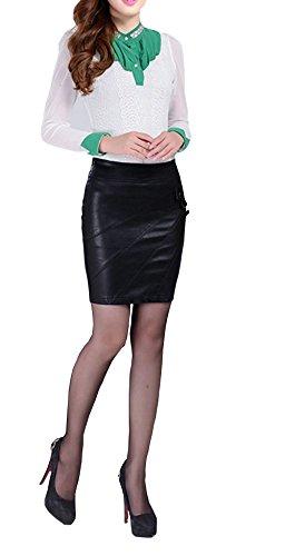 Jupe Femme Cuir Faux PU Taille Haute Casual Ajust Extensible Elastique Sexy Simili Mini jupes Jupe Crayon Slim Fit Noir Noir
