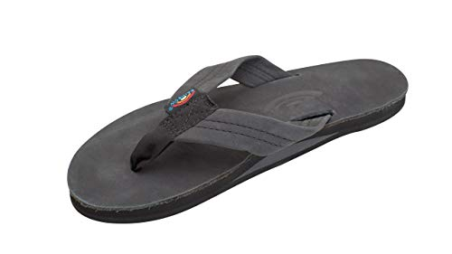 Rainbow Sandals Women's Single Layer Premier Black Leather w/Arch Support ()