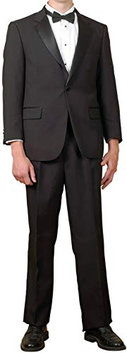 Mens 1 Button Black Classic Notch Collar Tuxedo Jacket By Broadway Tuaxmakers (46S) ()