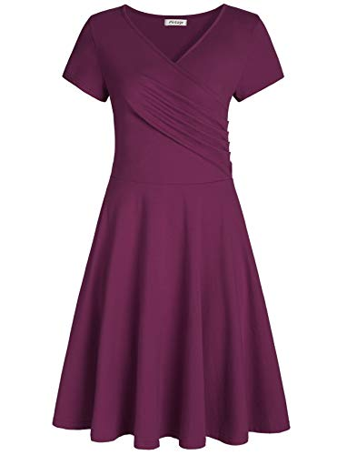 Pintage Women's Surplice V Neck Knee Length Wrap Dress L Plum]()
