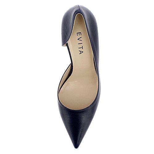 Jessica Escarpins Lisse Femme Shoes Evita Semi Cuir Ouverts Bleu E0B5na