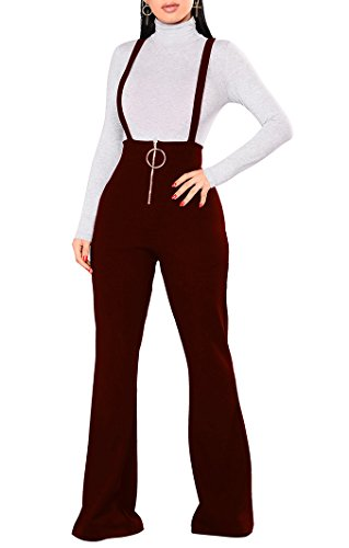 One Piece Outfit (Remelon Womens Sleeveless High Waisted Zipper Front Bell Pants Suspender Jumpsuits Overalls Wine XL)