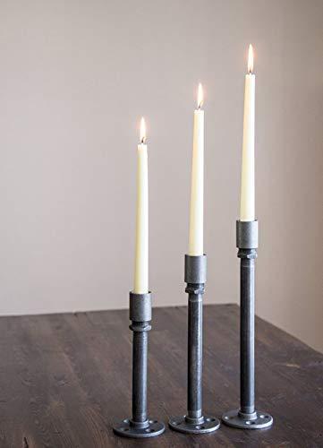 Candelabros Mictlan para decoración industrial. Set de 3 candelabros ensamblados a mano en tubería de hierro al carbono de...