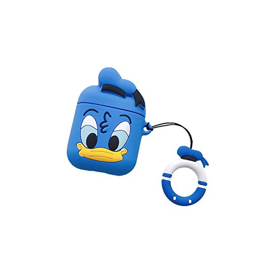 Ultra Thick Soft Silicone Blue Donald Duck Case and Finger Loop for Apple Airpods with Charging Case Protective Mini Bag Protector Walt Disney Disneyland Cute Lovely Kawaii Fun Girls Teens