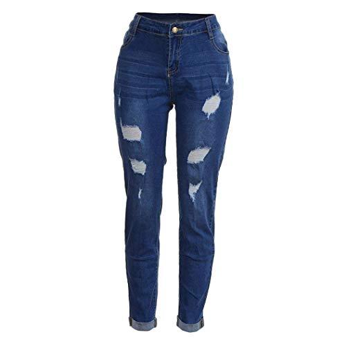 Damas Primavera Elegante Gimnasio Otoño Blue Deportivos Tight Jeans E Casuales Chubby 7xl Stretch Al Pantalones Aire Xxl Hollow Libre Largos Para OEqnwfWI
