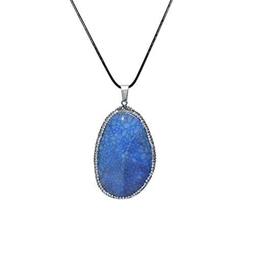 ART KIM Oval Agate Gemstone Pave Rhinestone Crystal Edge Natural Geode Necklaces (Blue Agate Necklace)