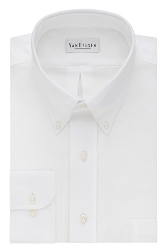 Van Heusen Men's Long-Sleeve Oxford Dress Shirt, White, 16