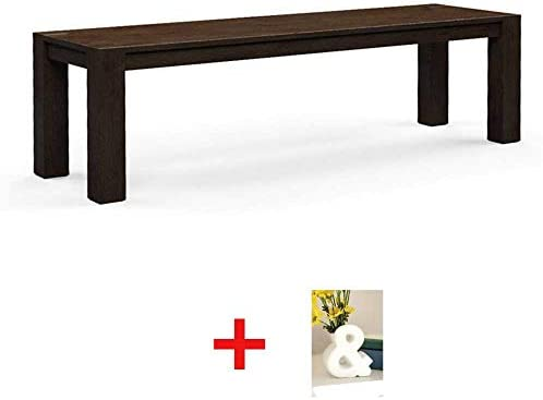 Bryant Dining Bench, Coffee Sitting Dimensions 47.75 W x 14 D x 18 H 121.29 cm x 35.56 cm x 45.72 cm with Vase