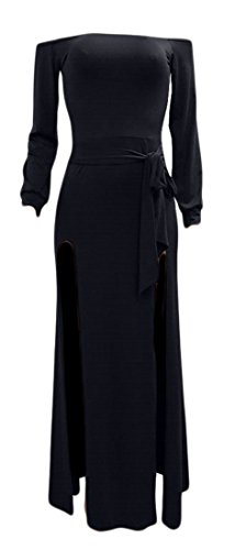 Off Slit Sexy Women's Dress Sleeve Long Cromoncent Shoulder Maxi Blue Party Dark T1qw5YnEB