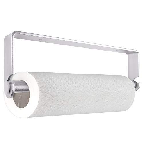 (TUPARKA Self Adhesive Paper Towel Holder Paper Towel Dispenser Kitchen Tissue Towel Holder Stand Under Cabinet(Silver))