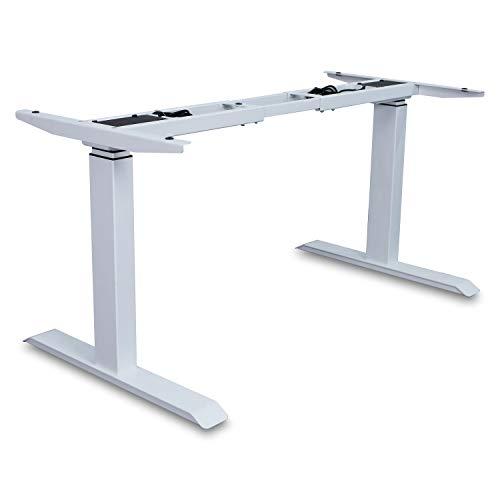 AITERMINAL Electric Standing Desk Frame Single Motor Adjustable Motorized Stand Up Desk-White Frame Only