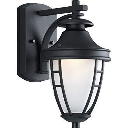 Progress Lighting P5775-31 1-Light Wall Lantern with Etched Glass Textured Black [並行輸入品] B07QZMGNCS