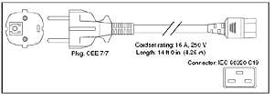 Cisco Power Cord 250V AC 4.3m Euro - Cable (4,26m, 250V, 16A, IEC60320/C19, CEE 7/7)