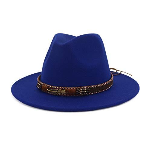 Vim Tree Men Women Ethnic Felt Fedora Hat Wide Brim Panama Hats with Band Blue L (Head Circumference 22.8