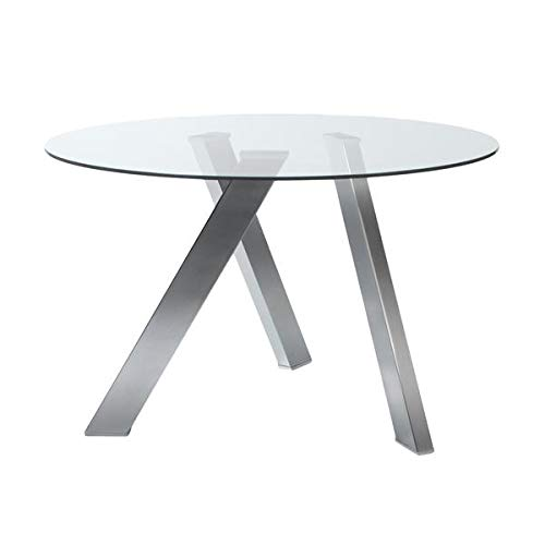 48'' Circular Meeting Table in Glass and Stainless Steel by eS (Image #1)