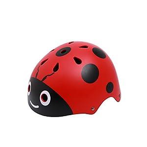 Kids Ladybug Helmet Cute Street Bike Helmet Specialized for Tricycle Roller Skating Skating Cycling Fun Beatles Print(48-54cm) Red
