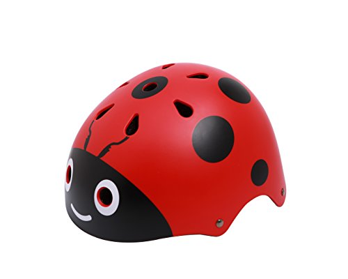 shuangjishan Kids Ladybug Helmet Cute Street Bike Helmet Specialized for Tricycle Roller Skating Skating Cycling Fun Beatles Print(48-54cm) Red (Street Skating)