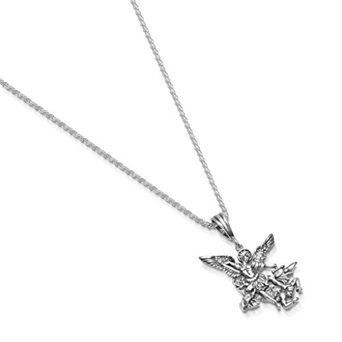 Chain Rope 25mm (Sterling Silver St. Michael Necklace Pendant Rope Chain - Small - 1.6mm - 18 Inch)