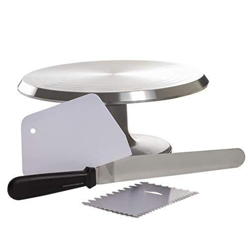 - Pedestal Cake Stand - Metal Rotating Cake Stand - Cake Cupcake Stands - Revolving Cake Stand with Cake Decorating Tools