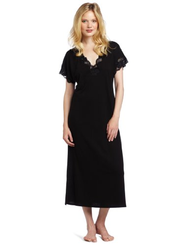 Polyester Nightgown (Natori Women's Zen Floral Covered Nightgown, Black, X-Large)
