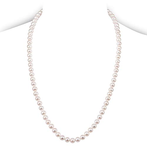 PAVOI Sterling Silver White Freshwater Cultured Pearl Necklace (24, 7mm) by PAVOI