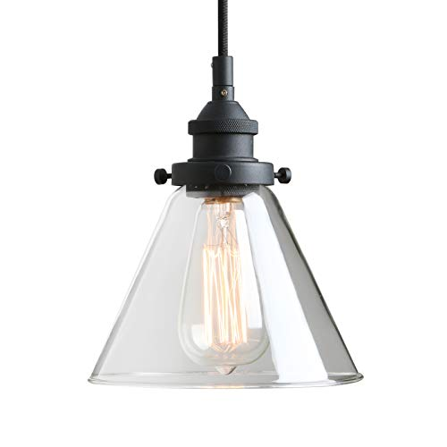 Pathson Retro Pendant Lighting with Clear Glass Shade and Metal Base Cap, Kitchen Light fixtures with Funnel Flared Style and Adjustable Textile Cord, Indoor Lamp for Bedroom Bathroom For Sale