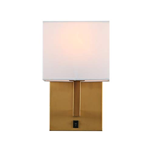 Indoor Bedside Wall Lamp Light, Yosoan 1-Light Vintage Industrial Wall Sconce with Square Fabric Shade for Bedroom Living Room Dinning Room Hotel (Antique)