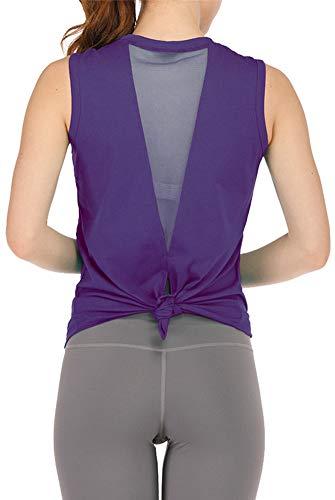 ELF QUEEN Women's Yoga Workout Mesh Vest Sleeveless Open Back Slimming Tops Lightweight Summer Sports Shirts Purple Small ()
