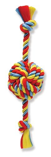 Flossy Chews Poly Dri Rope Monkey Fist Ball with Rope Ends, Small, 13-Inch, My Pet Supplies