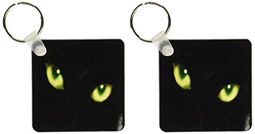 3dRose Green Eyes of a Black Cat - Key Chains, 2.25 x 4.5 inches, set of 2 (kc_6022_1)