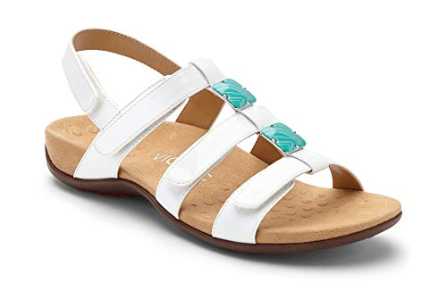 - Vionic Women's Women's Rest Amber Backstrap Sandal - Ladies Adjustable Walking Sandals with Concealed Orthotic Arch Support White Patent 10 W US
