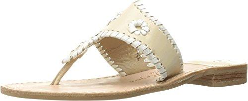 Jack Rogers Women's Palm Beach Navajo Classic Sandal,Bone/White,5.5 M