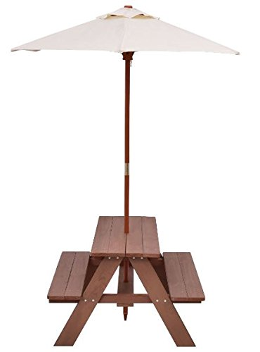 K&A Company Table Picnic Outdoor Kids Bench Children Play Set Umbrella Patio Furniture Garden Folding Plastic Indoor Seat Yard Portable Toddler Kid 4 Seat