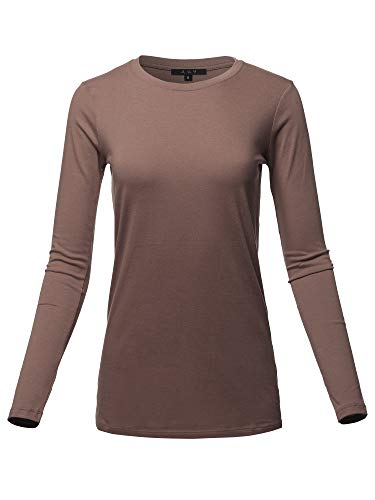 Basic Solid Soft Cotton Long Sleeve Crew Neck Top Shirts Brown L