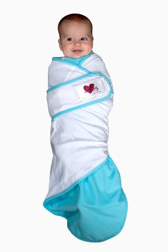 Go Mama Go Designs Snug and Tug Swaddling Blanket, Small, Blue Solid