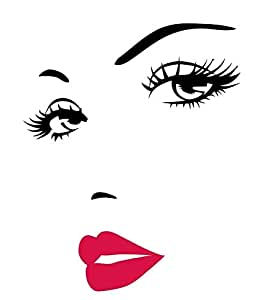 Living Room DIY Wall Stickers-woman hot lip woman face consice Sofa background wall papers
